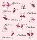 Baile y el estirar de la bailarina stock de ilustración
