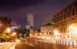 Bailen street and Spain Square in night. Madrid, Spain Stock Images