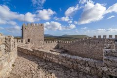 Bailey of the keep of the Castelo de Sesimbra Castle stock image