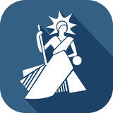 Bailiff icon. Blue bailiff icon in flat design style to illustrate law Royalty Free Stock Image