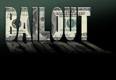 Bailout. Reflective letters made of money spelling BAILOUT Royalty Free Stock Photo