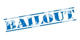 Bailout blue stamp stamp. Isolated on white background stock illustration