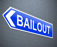 Bailout concept. Illustration depicting a sign with a bailout concept stock illustration