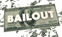 Bailout Financial Crisis Money Cash Falling Word. 3d Illustration Royalty Free Stock Image