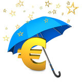 Bailout Fund. Golden eurosymbol with golden stars and blue umbrella stock illustration