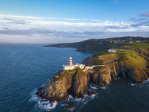 Baily lighthouse. Howth. Ireland. Aerial view. Baily lighthouse at sunrise. Howth. county Dublin. Ireland Royalty Free Stock Photo