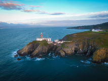 Baily lighthouse. Howth. Ireland. Aerial view. Baily lighthouse at sunrise. Howth. county Dublin. Ireland Stock Images
