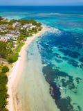 BAIN BOEUF Mauriutius Praia bonita em Maurícias do norte Moeda de Atoleiro, foto de stock royalty free