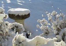 Bain d'oiseau, pierre, dans le jardin d'hiver sous la neige profonde Images libres de droits