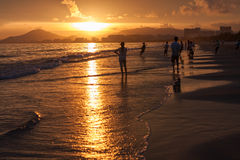 Bain de coucher du soleil Photo stock