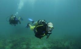 Bain de plongeurs autonomes sur un piqué Images libres de droits