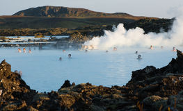 Bain géothermique en Islande Photo libre de droits