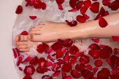 Bain romantique de jour de valentines avec les petails roses, station thermale à la maison, soin de luxe d'individu photos libres de droits