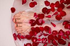 Bain romantique de jour de valentines avec les petails roses, station thermale à la maison, soin de luxe d'individu photos stock