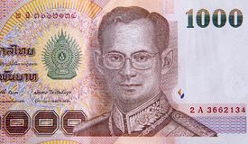 Bain 1000, bain thaïlandais de billets de banque thaïlandais avec l'image du Roi thaïlandais Bhumibol Adulyadej Images stock