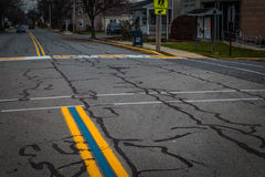 Bainbridge Blue Lines on Town Street Stock Images
