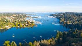 Bainbridge Island Harbor Panoramic View stock images