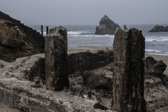 Bains de Sutro, ruines de San Francisco des murs originaux Photos libres de droits