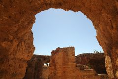Bains thermiques d'Antonin à Carthage Images libres de droits