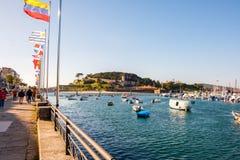 Baiona蓬特韦德拉,西班牙港口  库存图片