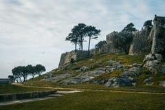 Baiona,加利西亚西班牙城堡和墙壁  免版税库存图片