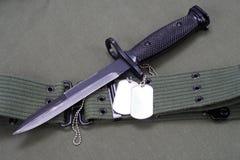 Baionetta con l'uniforme dell'ESERCITO AMERICANO Fotografia Stock