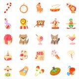 Bairn geplaatste pictogrammen, beeldverhaalstijl royalty-vrije illustratie