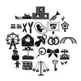 Bairn geplaatste pictogrammen, eenvoudige stijl vector illustratie