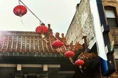 Bairro chinês colorido em San Francisco, Califórnia fotos de stock