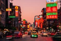 Bairro chinês do og das luzes de néon, Banguecoque, Tailândia Fotos de Stock Royalty Free