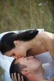 Baiser affectueux de mariée Image stock