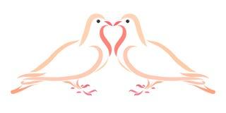 Baiser de deux amants des pigeons Photos stock