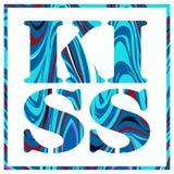 Baiser de lettrage encadré par bleu de marbre illustration stock