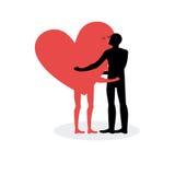 Baiser des amants L'homme étreint le coeur Baiser chaud une date Dans l'amour avec Photo stock
