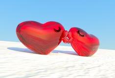 Baiser des coeurs Carte de fête Valentine& x27 ; carte de jour de s Photos stock