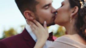 Baiser en gros plan des couples les épousant heureux dans l'amour sur la nature brouillée banque de vidéos