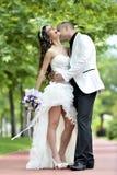 Baiser extérieur de jeunes mariés Photos stock