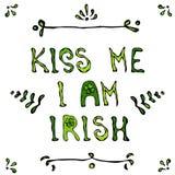 Baiser je suis lettrage irlandais Carte de jour de Patriks de saint Images libres de droits