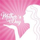 Baiser mignon de femme de silhouette de jour de mères Image libre de droits