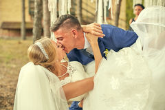 Baiser passionné des nouveaux mariés au mariage Image libre de droits