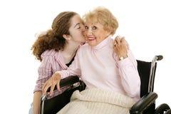 Baiser pour la grand-mère Photos stock