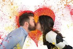 Baisers d'amour de couples Photo libre de droits