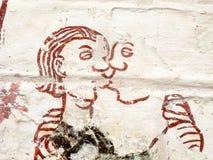 Baisers d'homme et de femme Fresque médiéval dans une église suédoise Photographie stock libre de droits