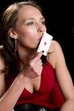 Baisers de la robe rouge d'as Image stock