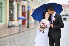 Baisers des couples de mariage Photographie stock