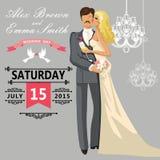 Baisers des jeunes mariés de couples Invitation mignonne de mariage Images stock