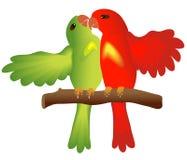 Baisers des lovebirds Images libres de droits
