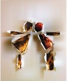 Baisers des personnes, de la conception de papier déchirée abstraite et des flammes Image stock