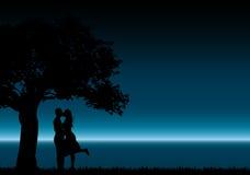 Baisers des silhouettes Image libre de droits