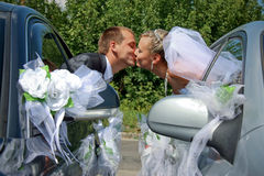 Baisers passionnés de ménages mariés Photo stock